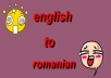 translate a text from english to romanian