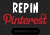 repin up to 6 items to my Pinterest board, following you and send your pins to my twitter account with 13k followers