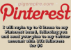 repin up to 5 items to my Pinterest board, following you and send your pins to my twitter account with 13k followers